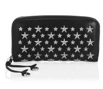 Filipa Schwarze Lederbrieftasche mit Sternen