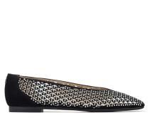 Juelle Flat Flache Schuhe aus schwarzem Wildleder mit Perforationen und silbernen Nietendetails