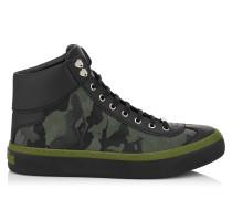 Argyle High-Top-Sneaker aus olivenfarbenem Gewebe mit Tarnmuster
