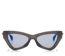 Donna Cat-Eye Sonnenbrille mit grauem Glitzergestell und himmelblauen Spiegelgläsern