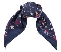 Star Viereckiges Halstuch aus Seide mit stahlblauem und weißem Print