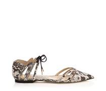 Hime Flat Flache Schuhe aus glänzendem Elapheleder