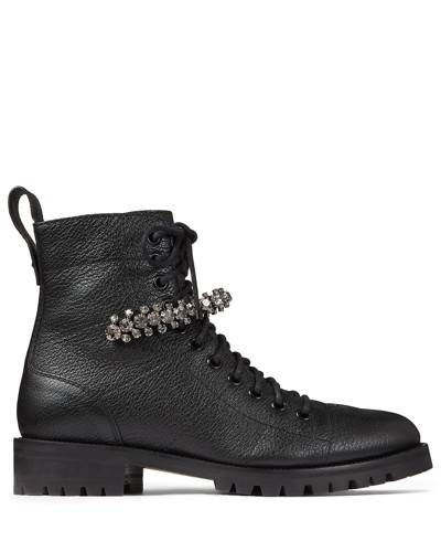 Cruz Flat Stiefeletten aus schwarzem genarbten Leder mit Kristalldetails