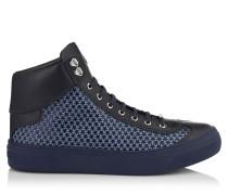 Argyle High-Top-Sneaker aus blauem Satin mit kleinen schwarzen Gummisternen