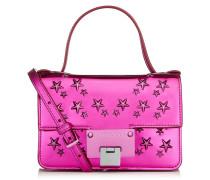 Rebel Soft Mini Kleine Umhängetasche aus rosanem Glanzmaterial mit Sternen