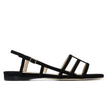 Arien Flat Flache Sandaletten aus schwarzem Wildleder