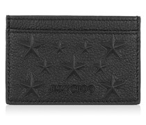 Dean Schwarzes Kartenetui aus geprägtem Leder mit Sternen