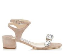 Marine 35 Sandaletten aus Wildleder in Ballettrosa mit Kristall