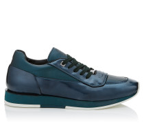 Jett Low-Top-Sneaker aus Leder in dunklem Pfau mit Metallic-Optik