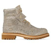 JC X Timberland/m Stiefel aus schimmerndem Wildleder in Gold Mix mit Hotfix Kristall