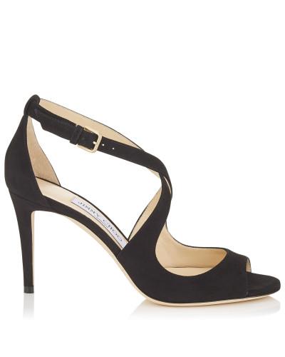 Emily 85 Sandalen aus schwarzem Wildleder