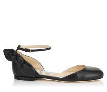 Kirsty Flat Ballerinas aus schwarzem Leder mit Schleife