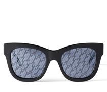 JAN Eckige schwarze Sonnenbrille mit JC Logo
