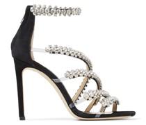 Josefine 100 Sandaletten aus schwarzem Wildleder mit Kristallverzierung