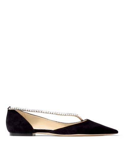 Trude Flat Flache spitze Schuhe aus weichem schwarzen Wildleder