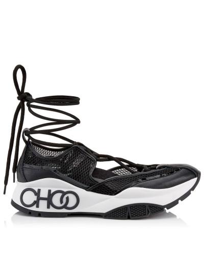 Michigan Sneaker aus schwarzem Netzgewebe und Lacknappaleder mit Espadrille-Riemen