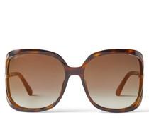 Tilda Eckige Oversize Sonnenbrille aus dunklem Havana und Spiegelgläsern mit Ausschnitt und Kristalldetails