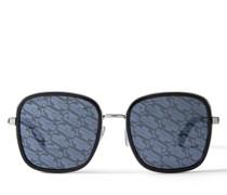 Elva Sonnenbrille aus schwarzem und silbernem Metall und Gläsern mit JC-Monogramm