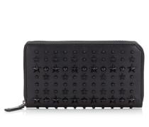 Carnaby Reisebrieftasche aus schwarzem Leder mit Sternen