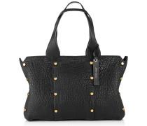 Lockett Shopper/s Tragetasche aus schwarzem genarbtem Leder