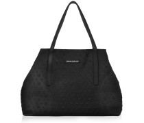 Pimlico Black Grainy Leather Tote Bag with Embossed Stars