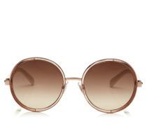 Andie Sonnenbrille mit rundem Gestell aus weißem Acetat und goldenem Lurex