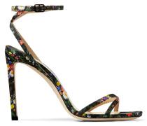 Metz 100 Sandaletten aus mehrfarbiger Seide mit Blumen-Print
