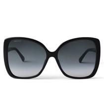 Becky Oversize-Sonnenbrille in Schwarz mit Swarovski-Kristallverzierung