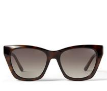 Rikki Cay-Eye Sonnenbrille in Havana-Braun und Schildpatt mit glitzerndem Choo Logo