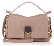 Lockett/s Handtasche aus genarbtem Leder in hellem Mocha und Leder mit Fell-Print und Leopardenmotiv