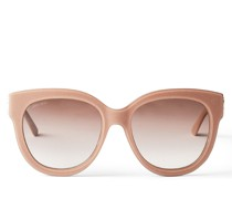 Jill Cat-Eye Sonnenbrille aus Glitzer-Acetat in Nude mit goldenem JC Emblem