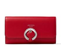 Wallet W/chain Brieftasche aus glattem Kalbsleder in Königsrot mit kristallverzierter Schnalle