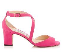 Carrie 65 Peeptoe-Sandalen aus rosanem Wildleder
