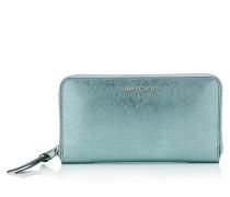 Pippa Brieftasche aus blauem Leder in Metallic-Optik