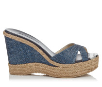 Perfume Wedges aus Denim mit dunkelblauem Print in Metallic-Optik