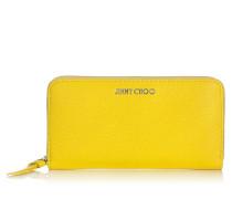 Pippa Brieftasche aus weichem genarbtem gelben Ziegenleder