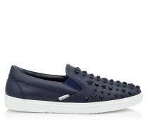 Grove Slip-On-Sneaker aus dunkelblauem Kalbsleder mit Sternen