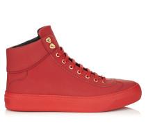 Argyle Sneaker aus rotem genarbtem Leder