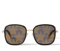 Elva Sonnenbrille aus schwarzem und goldenem Metall und Spiegelgläsern mit Sternmotiv