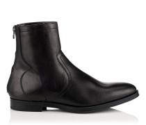 Pablo Boots aus schwarzem glänzendem Leder mit Shearling-Fütterung