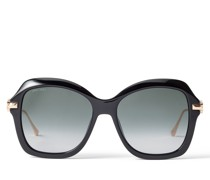 Tessy Eckige schwarze Sonnenbrille mit grauen getönten Gläsern