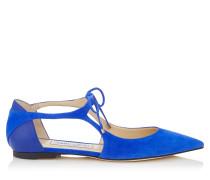 Vanessa Flat Spitze flache Schuhe aus kobaltblauem Wildleder und Nappaleder