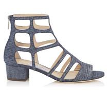REN 35 Sandalen aus Denim-Leder in hellem Indigo