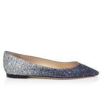 Romy Flat Spitze flache Schuhe mit silbernem und dunkelblauen Glitzer-Dégradé