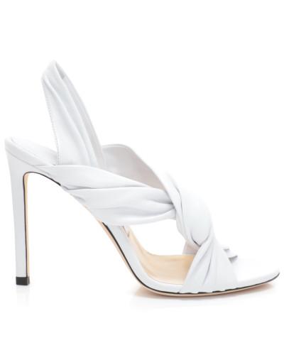 Lalia 100 Sandalen aus weißem Nappaleder mit Lederrüschen
