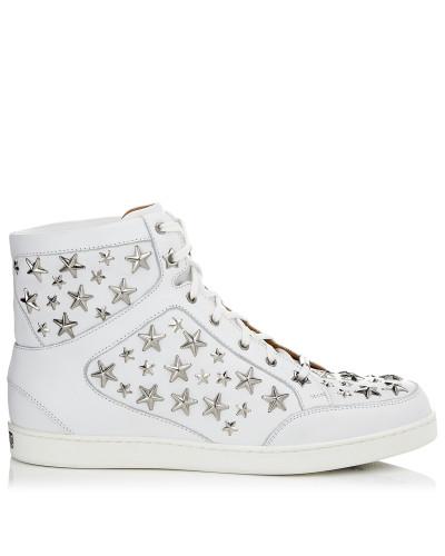 Jimmy Choo Damen Tokyo Sneaker aus weißem Leder und Sternen Genießen Freies Verschiffen Beste Online 8bRi7