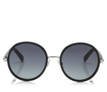 Andie Sonnenbrille mit rundem Gestell aus schwarzem Acetat und silbernem Lurex