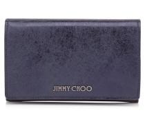 Marlie Brieftasche aus dunkelblauem Leder in Metallic-Optik