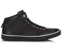 Varley High-Top-Sneaker aus schwarzem Glitzerwildleder und Lack