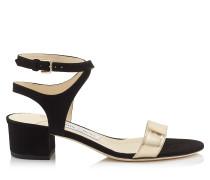 Marine 35 Sandalen aus schwarzem Wildleder und goldenem Glanzleder